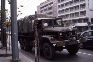 Athens April 1983 Army Truck at Bus Strike